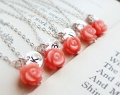 Bridesmaid gifts, set of six: coral necklaces with initials, 6 coral necklaces, initial necklaces, coral jewelry, beach wedding