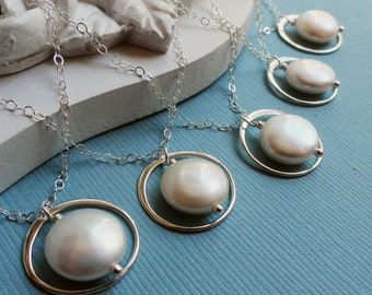 Bridal Party Jewelry, Eternity Necklaces for Bridesmaids, coin pearl Necklaces, karma circle necklaces, Sterling silver, Gold