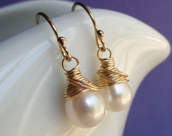 Bridesmaid Gift set of TWO Pairs pearl Earrings, Gold or Silver, wire wrapped, Classic, Simple, bridal jewelry