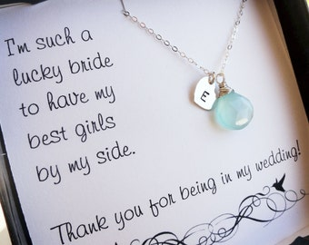 Bridesmaid Jewelry Gift set of 11: Eleven Bridesmaid thank you cards & necklaces,  personalized bridesmaid gifts with message cards