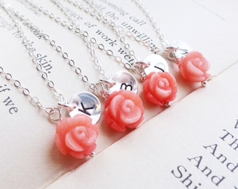 Wedding jewelry set of FOUR :Coral necklaces, Bridesmaid gift personalized coral flower necklaces, Beach wedding, Destination wedding