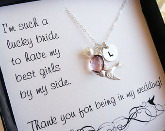 Wedding jewelry gift Set of 6: Bridesmaid thank you cards with necklaces, personalized necklaces, birds, birthstones, initials, silver