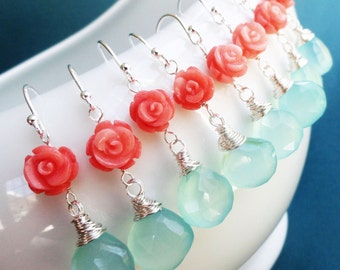 Bridesmaid gifts set of SEVEN: aqua and coral earrings, teal and orange, tangerine and aqua blue earrings, sterling silver, beach wedding