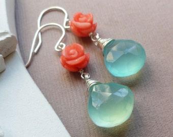 Set of NINE pairs aqua and coral earrings, Bridesmaid gifts, teal and orange, tangerine and aqua blue earrings, sterling silver, otis b
