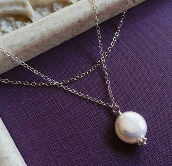 Freshwater Pearl necklaces, Bridesmaid gifts, SET OF THREE necklaces, pearl solitaire necklaces, bridesmaid jewelry gift set