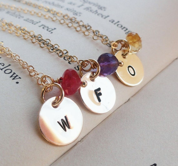 Bridal Jewelry Gift Sets : Bridal jewelry gift sets, FIVE Gold Initial Necklaces with birthstone ...