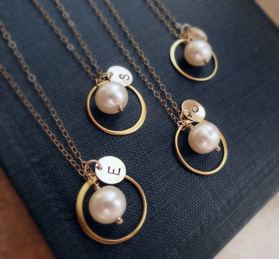 Bridal Jewelry Gift Sets : Bridal jewelry gift set of SIX: gold necklaces for bridesmaids ...