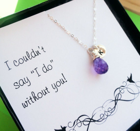 Set of 7: Seven Bridesmaid thank you cards & necklaces, Be my Bridesmaid gifts, personalized birthstone necklaces, initial necklaces