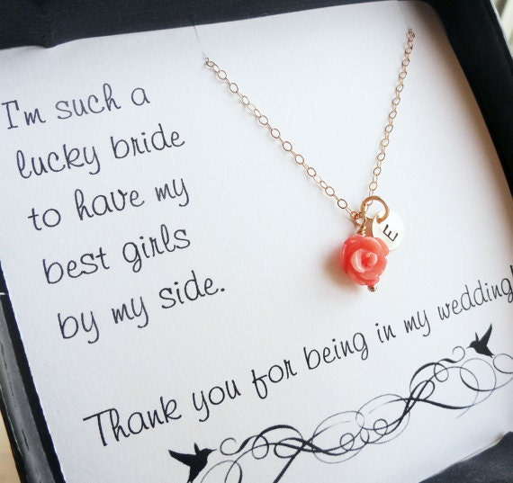 Bridesmaid necklaces, Coral necklaces, Bridal Jewelry Set, Four gold coral necklaces with initials, Personalized Bridesmaid necklaces