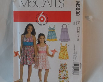 McCall's Girl's Dress Pattern - New  Size CDE 3,4,5,6