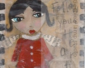 Follow Your Heart Red Fairy - 31/4 x31/4 original painting