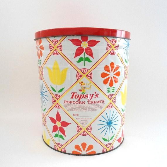 Large Vintage Flower Tin / Topsy's Popcorn Treats Tin