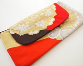 Vintage kimono obi silk flap clutch bag purse -Chinese floral pattern, red,gold,dark brown