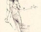 Nadine 04 Original figure study  7 x 9 inches drawing