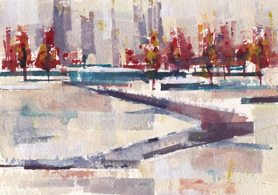 "Winter Park original watercolor 7"" x 5"""