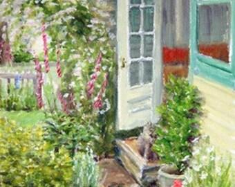 Cottage Garden Flowers  Back Door and Cat  -  CARD