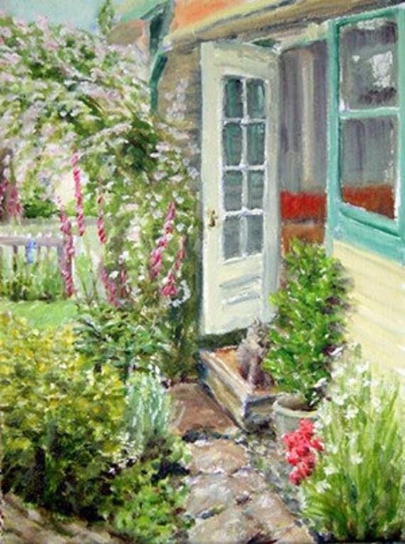 Cottage garden flowers back door and cat card for Cottage back door