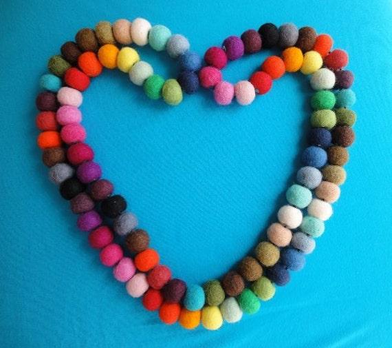 Rainbow Felt Ball Necklace - 10