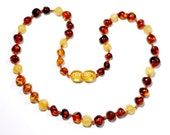 Baltic Amber Teething Necklace - Rich Honey with Creamy Lemon Mix - Made in Canada