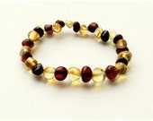 Baltic Amber Teething Elastic Stretch Bracelet/Anklet - Dark Cherry with Lemon Mix - Made in Canada