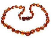 Baltic Amber Teething Necklace - Dark Honey Color Olive Shaped Beads - Made in Canada