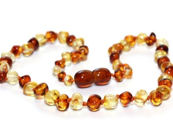 Baltic Amber Teething Necklace - Warm Honey and Clear Lemon Mix - Made in Canada