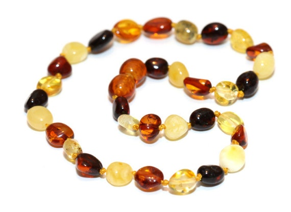 Baltic Amber Teething Necklace -  Multicolor Rainbow Mix - Made in Canada