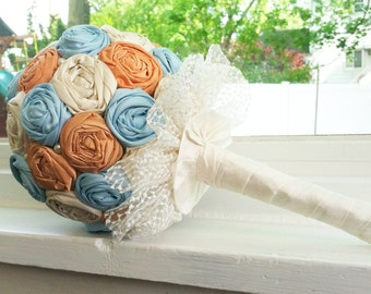 Custom made dupioni silk fabric rosette bouquet