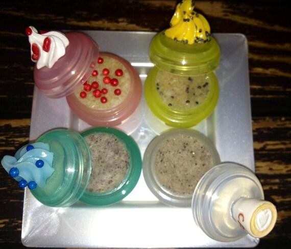 "NEW Organic Natural Lip Scrub 4 pc Giftset ""Coffee & Cake"" FREE SHIP"