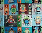 Children's Cotton Fabric- ROBOT BLOCKS,  1.5 yards