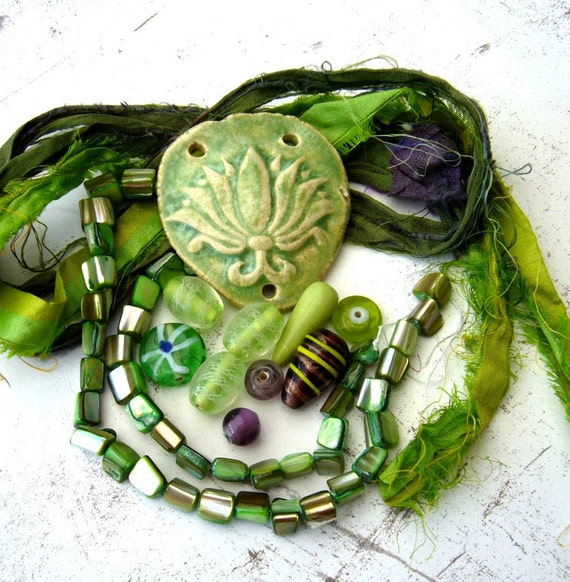 Creative mix Necklace kit with ceramic pendant beads and silk
