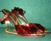 Vintage Tortoise Shell Lucite Heels Platform Wedge Shoes US Size 6