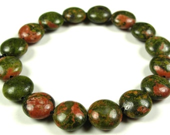LAST Strand Great SALE - was 6.99 - Unakite Puffy Coin Disc Bead - 8mm x 4mm - 16 Pieces - A1775