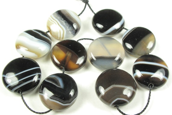 Black White Sardonyx Coin Disc Bead - 14mm - 10 Pieces - A1580