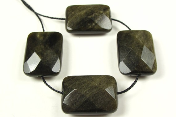RESERVED for Duwe - Quality Golden Obsidian Faceted Rectangle Bead - 18mm x 13mm x 6mm - 4 Pieces - A1928
