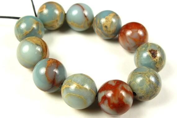 Aqua Terra Jasper Round Bead - 10mm - 12 Pieces - A2128