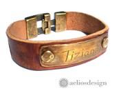 Genuine Leather Nameplate Bracelet