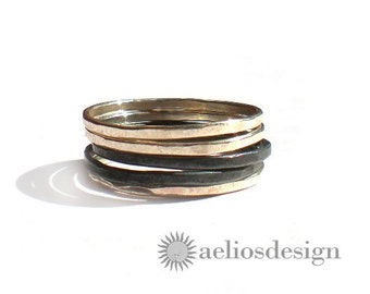 Stacking Rings Oxidised Sterling Silver Set of 5