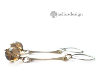 Gemstone Earrings Genuine Smoky Quartz and Hand Hammered Sterling Silver