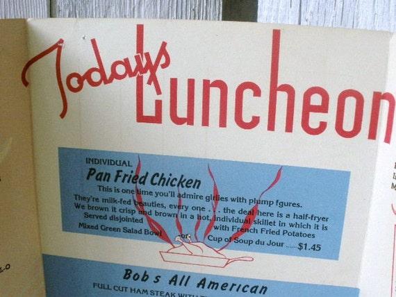 Vintage menu luncheon Bobs 1948
