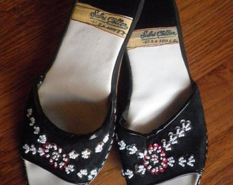Vintage Black Beaded Slip On Shoes