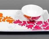 handpainted chip & dip set - orange/fuchsia