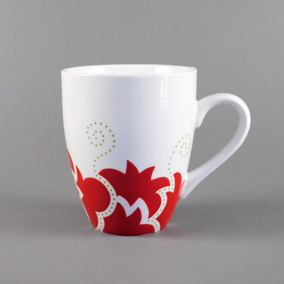 Items similar to handpainted coffee mug red on etsy for How to paint a mug