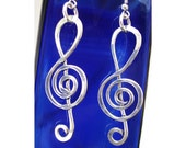 Wire Earrings - Silver Treble Clef