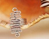 Wire Ring - Hammered Silver  Serpentine