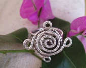 Ring - Silver wire swirl flower