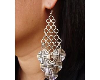 Wire Earrings -  5 swirl medallions