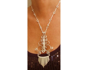 Necklace - Flat Silver plated wire, The Masterpiece with chain