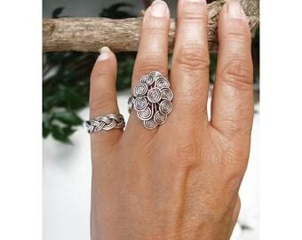 Wire Ring  -  Flower swirls