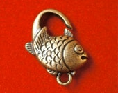 Antique bronze plated fish shaped lobster clasp.